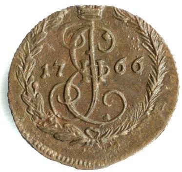 2 копейки 1766 г. ЕМ. Екатерина II Буквы ЕМ
