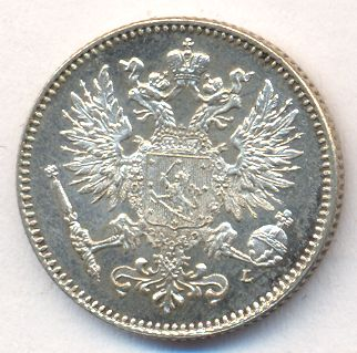 50 пенни 1908 г. L. Для Финляндии (Николай II).
