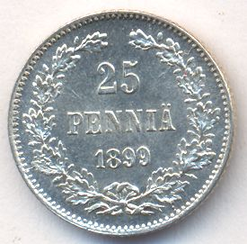 25 пенни 1899 г. L. Для Финляндии (Николай II)