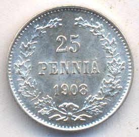 25 пенни 1908 г. L. Для Финляндии (Николай II)