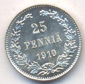 25 пенни 1910 г. L. Для Финляндии (Николай II)