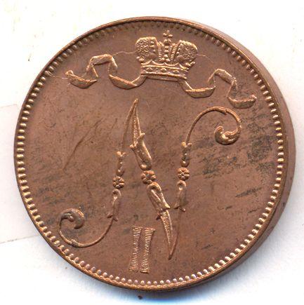 5 пенни 1913 г. Для Финляндии (Николай II).