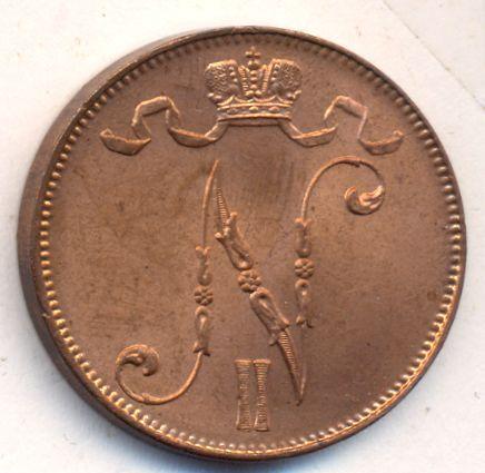 5 пенни 1914 г. Для Финляндии (Николай II).