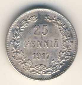 25 пенни 1917 г. S. Для Финляндии (Николай II). Гербовый орел без корон