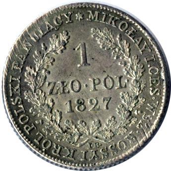 1 злотый 1827 г. IB. Для Польши (Николай I)