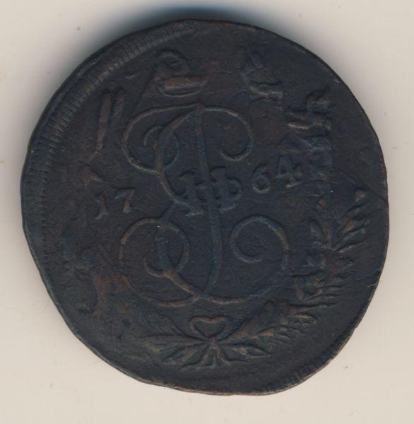 2 копейки 1764 г. ЕМ. Екатерина II. Буквы ЕМ. Гуртовая надпись