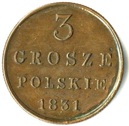 3 гроша 1831 г. KG. Для Польши (Николай I) Инициалы минцмейстера KG