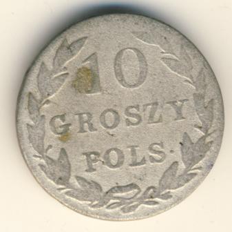 10 грошей 1827 г. FH. Для Польши (Николай I) Инициалы минцмейстера FH
