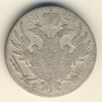 10 грошей 1827 г. FH. Для Польши (Николай I). Инициалы минцмейстера FH