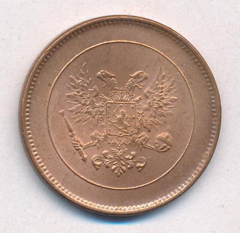 5 пенни 1917 г. Для Финляндии (Николай II). С гербовым орлом