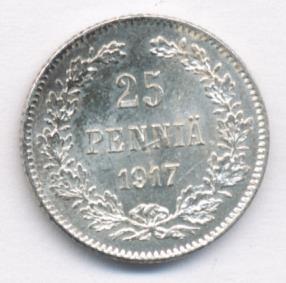 25 пенни 1917 г. S. Для Финляндии (Николай II) Гербовый орел с тремя Императорскими коронами