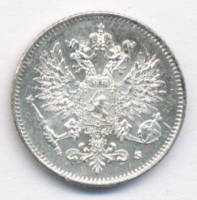 25 пенни 1917 г. S. Для Финляндии (Николай II). Гербовый орел с тремя Императорскими коронами