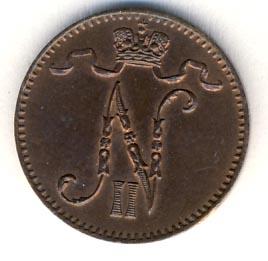 1 пенни 1895 г. Для Финляндии (Николай II).