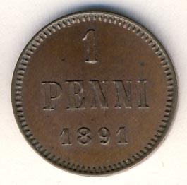 1 пенни 1891 г. Для Финляндии (Александр III)