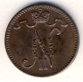 1 пенни 1904 г. Для Финляндии (Николай II).