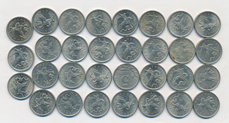 Лот монет Банка России: 5 копейка (31 шт.) 2001-2009 - реверс