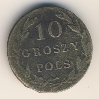 10 грошей 1827 г. IB. Для Польши (Николай I) Инициалы минцмейстера IB