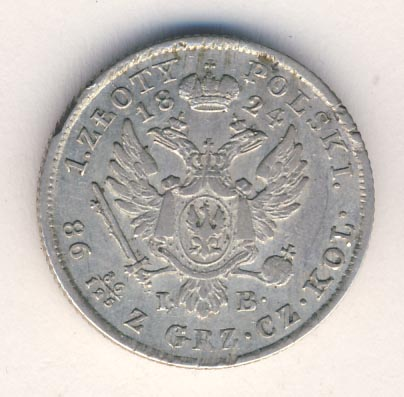 1 злотый 1824 г. IB. Для Польши (Александр I).