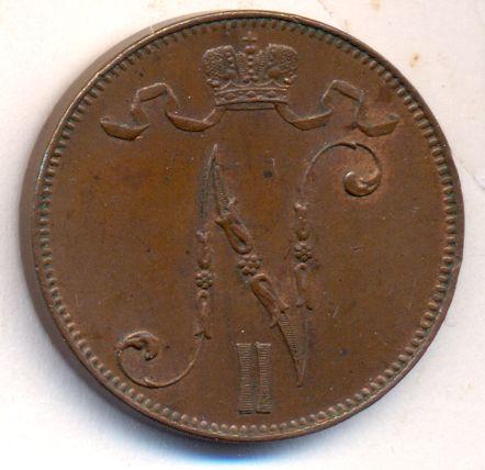 5 пенни 1906 г. Для Финляндии (Николай II).